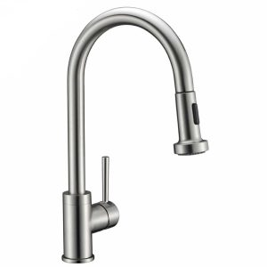 Avola Solid Brass kitchen sink tap with brushed nickel finish